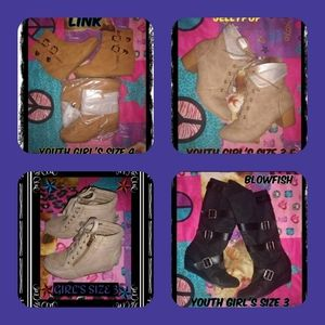 SEE PHOTOS & DESCRIPTION 4 PAIRS YOUTH GIRLS BOOTS